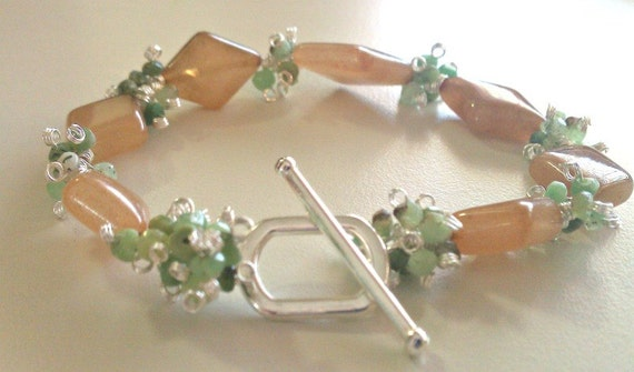 Juicy Fruit Martini, Peach Aventurine and Green Shaded Chrysoprase Cluster Bracelet