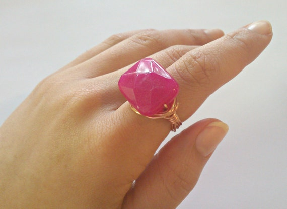 Delicious Diva, Hot Pink Jade, Copper Wire-Wrapped  Cocktail Ring---SIZE 9