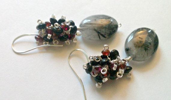 Dark as Night, Red as Blood, Black Rutilated Quartz and Garnet Cluster Earrings