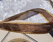 Entire Bolt (or by the yard) of Vintage French Rayon and Tinsel Brown and Gold Metallic Ribbon Free Shipping