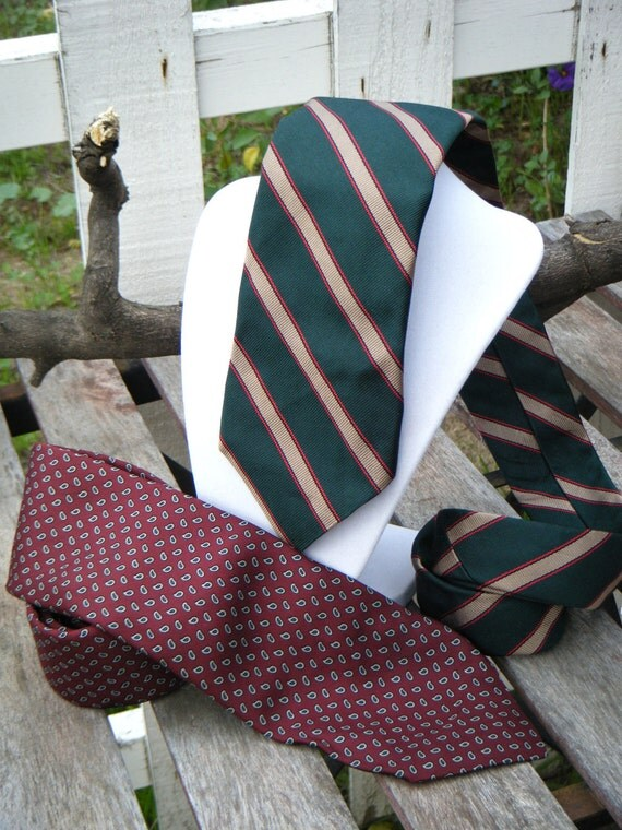 GIFT for HIM Vintage Silk Ties, Robert Talbot for The Peddler San Francisco, green striped burgundy paisley, fashion, Father's day SALE