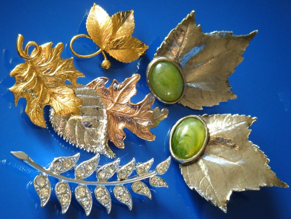 Vintage Brooch & Earrings Lot, LEAVES Sarah Coventry Avon Pisces Coro, 14k gold silver copper crystal rhinestone, Holiday gift for her SALE