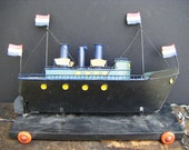 Antique Dutch Tin Ship Pull Toy, Hand Made, Hand Painted, Wooden Base, Flags
