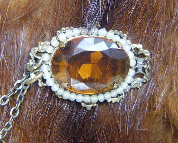 1800's TOPAZ PENDANT with Pearls, Antique Victorian Jewelry Necklace