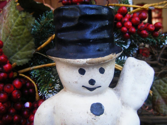 RESERVED for KIM Vintage 1950's Pulp Paper Mache Snowman, Black Hat with Broom, for Christmas