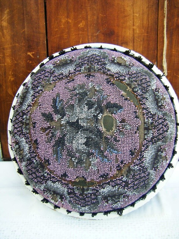 Antique 1800's Victorian Beaded Foot Stool