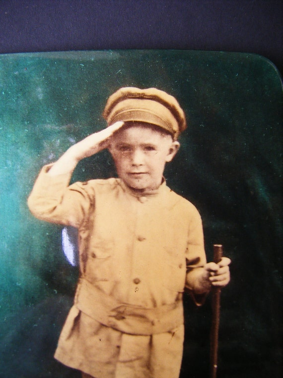 RESERVED for Danielle              Little Soldier Boy with Rifle, Antique Celluloid Tinted Photograph, Military Uniform