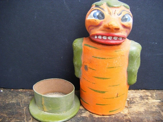 Vintage German Halloween Veggie Candy Container, Hand Painted Paper Mache
