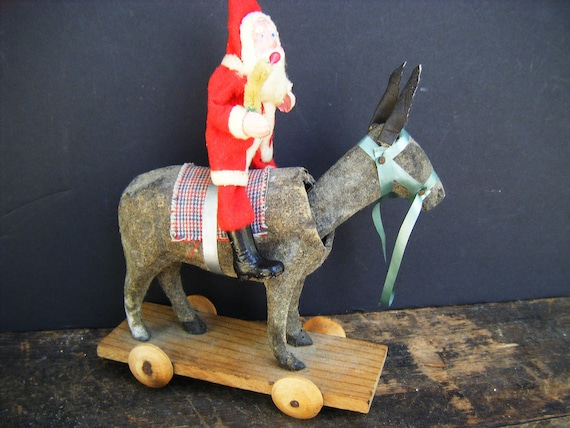Antique Santa on a Donkey Pull Toy for Christmas, Bobbing Head