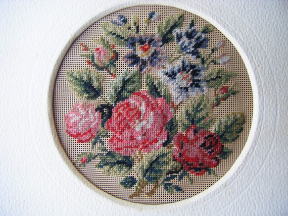 Antique 1800's Petite Point of Roses, Victorian Framed Needlework