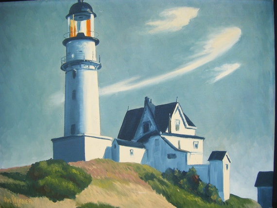 1948 Lighthouse Painting, Oil on Canvas by Art Werner