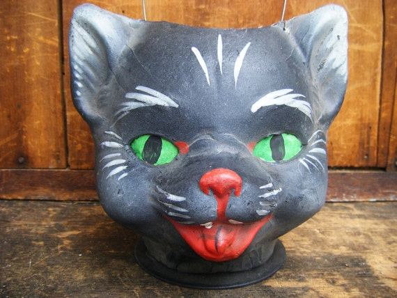 Vintage German 1950's Black Cat  Halloween Lantern, made with Pressed Paper Mache
