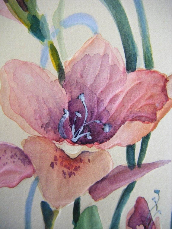 Vintage WILD IRIS Watercolor, Original by Paula Rayer Nemec