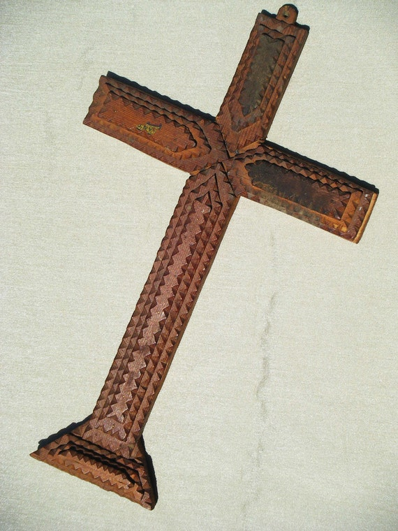 Antique Tramp Art Cross, Hand Made by J. S. Smith, May 30, 1948
