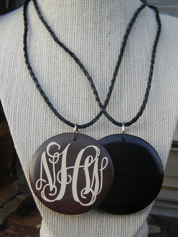 Monogram Wooden Necklace