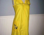 vintage yellow cotton anchor print 60s day shift dress XL