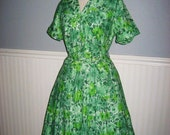vintage 50s 60s plus size watercolor floral print cotton party dress XL XXL