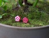 Tiny Magenta Glitter Flower Earrings