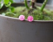 Round Pink Glitter Button Earrings