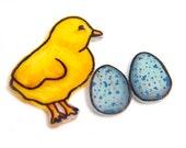 Shrink Plastic Baby Chick Brooch and Easter Egg Earrings