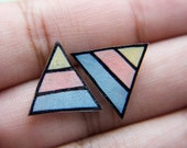 Shrink Plastic Triangle Earrings (Pale Yellow, Peach, Gray)