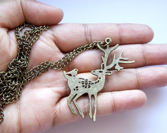 Vintage Deer and Birdy Necklace