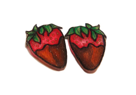 Shrink Plastic Chocolate Covered Strawberry Earrings