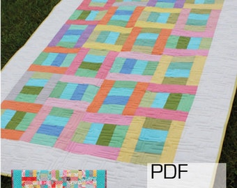 """Can Can 2-1/2"""" Strip Quilt Pattern -  Includes Multiple Sizes -  PDF version"""