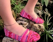 Micha in Bright Spring Pink- Hmong Embroidered  Womens Ballet Flat Shoes