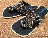 Men's Sandals in Hmong Earthy Brown Embroidery and Indigo Batik Cotton and Hemp