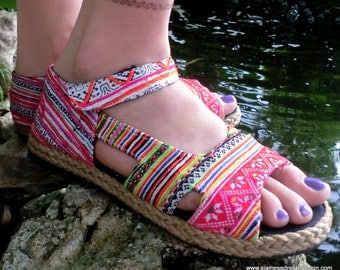 Colorful Embroidery &  Batik Ankle Strap Open Toe Mary Jane Espadrille Flat Vegan Shoe - Cealie