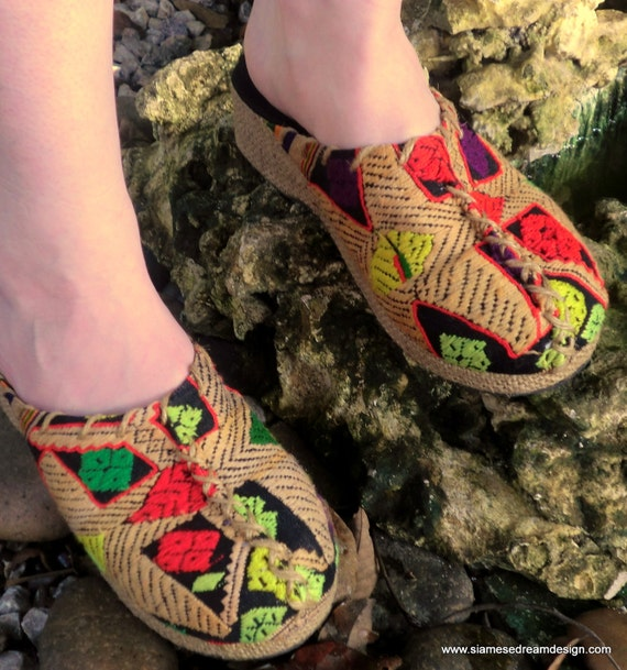 Colorful Embroidered Laotian Woven Clogs, Slides, with Rope Trim