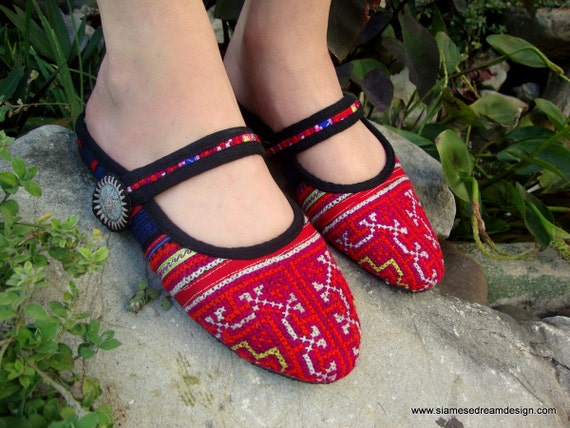 25% Off Clearance Sale- The Adalia Slide, Hmong Embroidered Slip-On Shoe 12