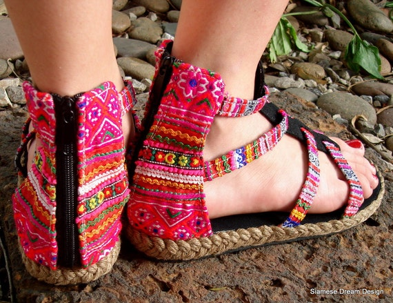 Girls Gladiator Sandals In Pink Hmong Embroidery and Batik