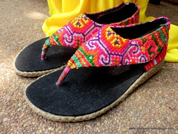 Abbie Vegan Womens Wedge Sandals In Brilliant Colorful Hmong Embroidery 5