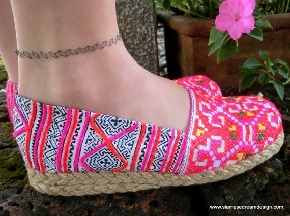 Colorful Hmong Embroidered & Batik Womens Vegan Loafers Shoes- 8.5