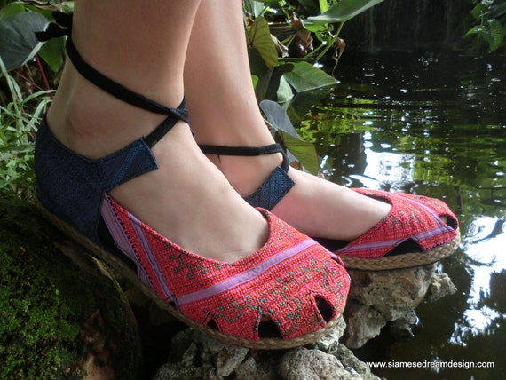 Ankle Wrap Espadrille Flat Shoe, Dahlia in Coral and Lavender, Hmong Embroidery & Batik,