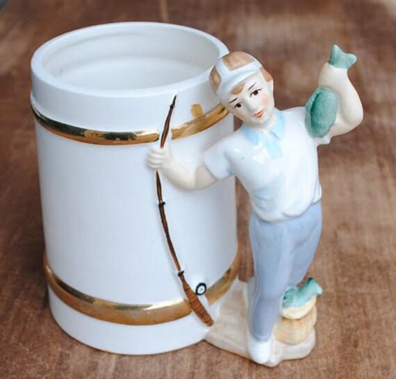 RESERVED Vintage 1950's Relpo Fishing Mug