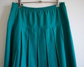 1980s Jade Mid Length Pleated Skirt - Size 10