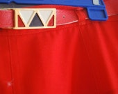 1980s Long Bright Red High Waisted Western Skirt with matching reto belt - size 8 to 12