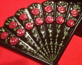 Black Spanish Fan Box with Red Roses