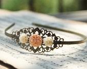 Filigree Metal headband, Antiqued Brass with ivory and peach flowers, Vintage style, Very romantic.By VintageByRachel
