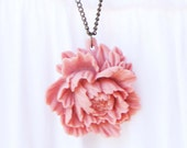 Pink Peony Flower Pendant - antique bronze Necklace