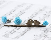 Love birds Hair pin and stud earrings - Gift Set