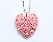 Pink Heart Necklace - Big Pendant - Old Pink Craved Heart