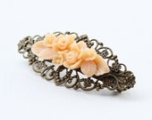 Hair Barrette clip- Antique Brass Filigree- Peach Flowers bouquet
