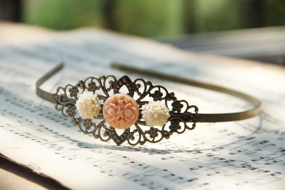 Filigree Metal headband, Antiqued Brass with ivory and peach flowers, Vintage style, Very romantic.By VintageByRachel