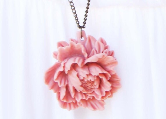 Pink Peony Flower Pendant - antique bronze Necklace