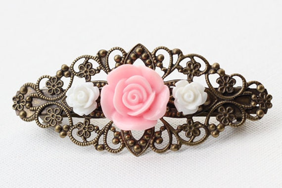Hair Barrette clip, Antique Brass Filigree Pink and white Roses cabochons. By Vintage By Rachel