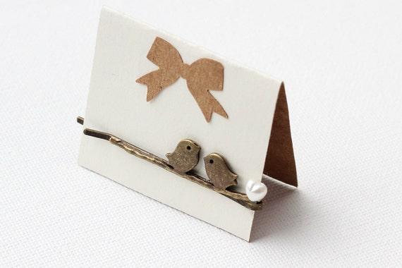Love Bird hair pin - pearl heart - bridle choice